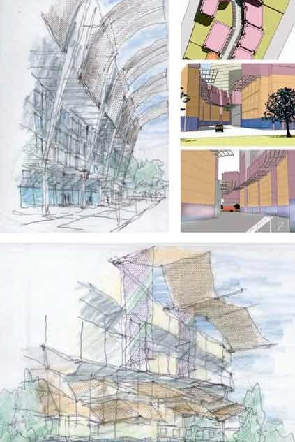 Design guidelines in sketch form in one of the neighborhoods, Downtown Jebel Ali