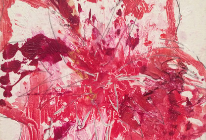Fereydoun Ave Lal Dhalias Acrylic on Canvas 35 x 35 cm