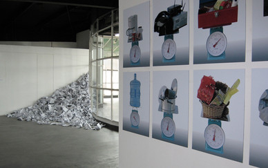 Installation view, Mohamad Kazim's work on the right  and Layla Juma's work on the left