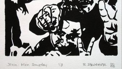 Raymond Prucher Jenin: Men someday Print on paper 30 x 40 cm 2005