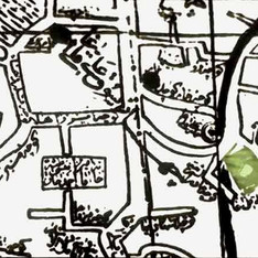 Map of the surrounding neighborhood. Ali Qoli Agha complex is highlighted in green