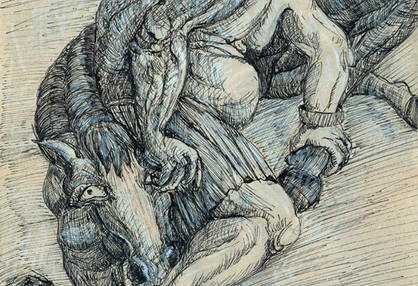 Mehdi Ahmadi From Horses and devil series Ink & pen on paper 20 x 30 cm