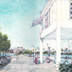 Rendering of urban development plaza, including pedestrian paths and public parks, close to Al Maktoum Bridge, along Dubai Creek