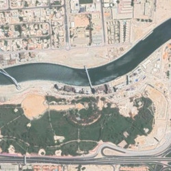 New Google Earth view of Safa Park after half the park was converted to a waterway for the Dubai Canal