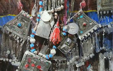 Mohseni Kermanshahi Beautiful ornament Acrylic and oil on canvas 80 x 120 cm 2010