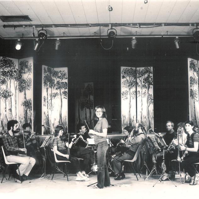 Orchestra practice for The Mikado play, British Council Theater, Dubai