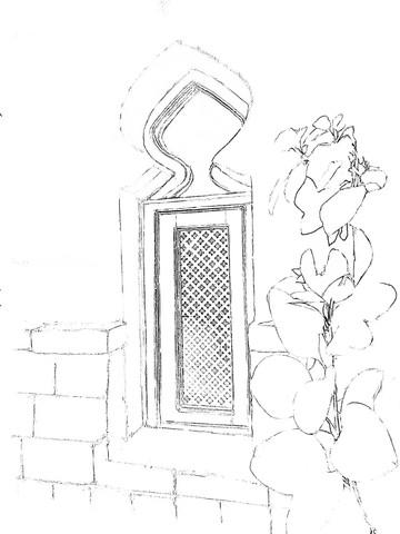 Courtyard coloring sketch 2
