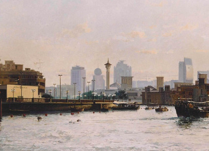 Mohseni Kermanshahi Dubai Skyline Oil on canvas 100 x 210 cm