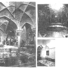 Public bath converted to restaurant and sitting and majlis dining groups