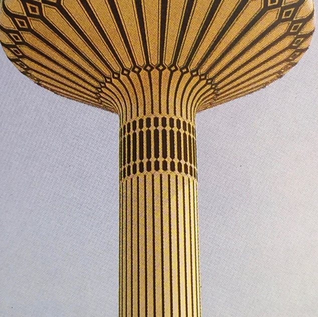 Al Khazzan water tower in its original coloring in 1985