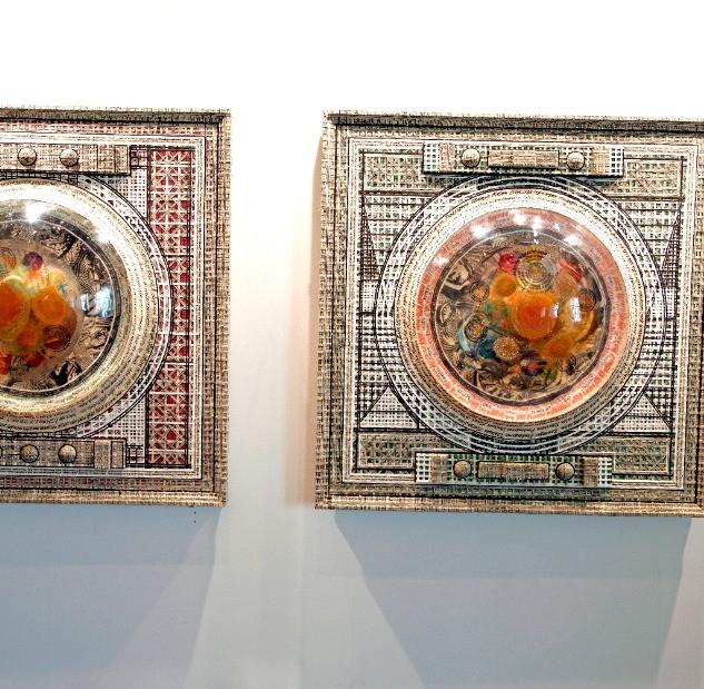 One of the artworks exhibited:  Zulkifli Yusof Pesanan Tun Abdul Razak Buku Hijau 122 x 122 cm 2014 (2 panel)