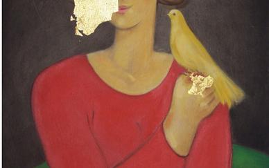 Bahram Dabiri Woman in red dress and yellow bird Acrylic on canvas 45 x 60 cm