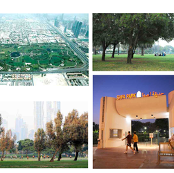 Aerial photo of Safa Park, and photos of Safa Park and its entrance