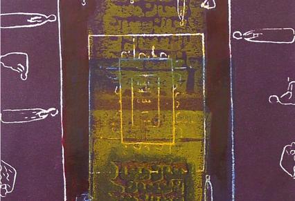 Amadou Kan-si Ritual Wood cut on paper Unique edition 20 x 25 cm