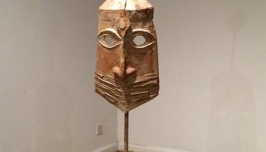 Installation view Yasmin Sinai Sasanid mask Cardboard and mix media 142 x 35 cm 2014-2015