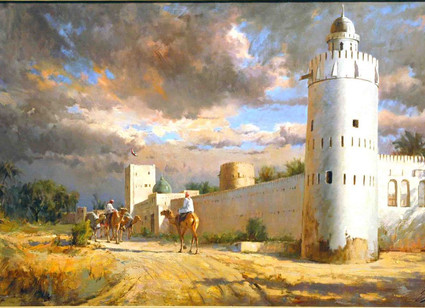 Mohseni Kermanshahi Camel Rider passing by the Ruler's Fort Oil on Canvas 80 x 140 cm 2008