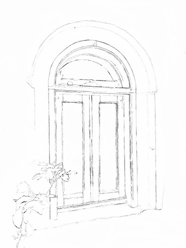 Courtyard coloring sketch 3
