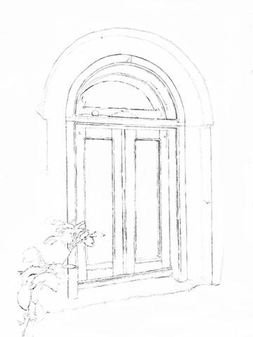 Courtyard coloring sketch 3