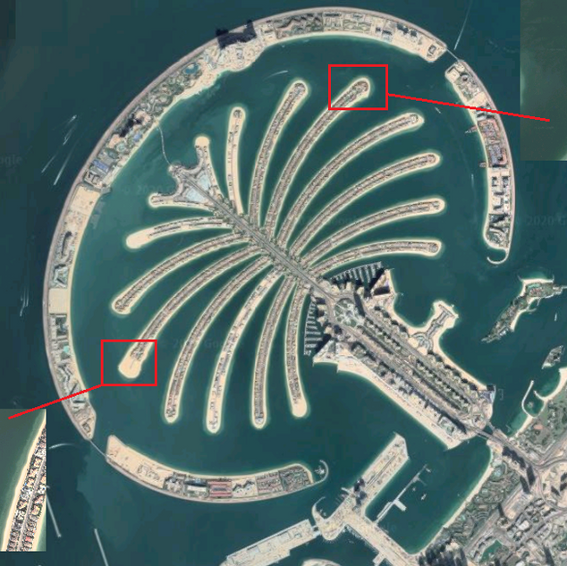 Google Earth view of Palm Jumeirah. Left zoomed in section is an example of the signature villa before construction and the right zoomed section is the completed signature villa