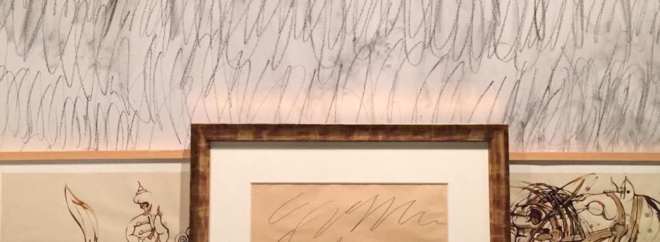 Installation view Cy Twombly signed poster & Ahmad Amin Nazar