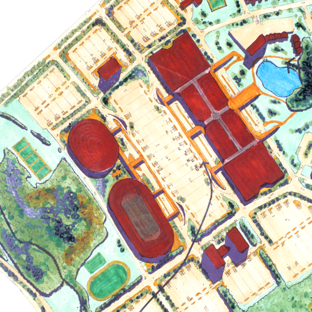 Site plan of the commercial section of downtown Beckett