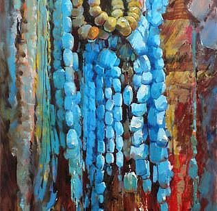 Mohseni Kermanshahi Turquoise Stones Acrylic and oil on canvas 40 x 70 cm 2011
