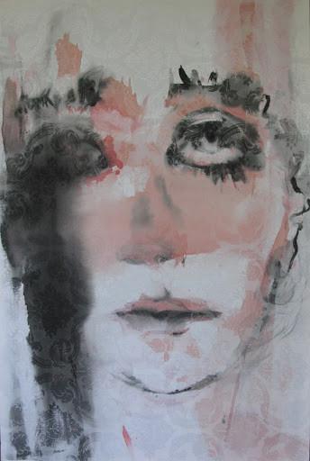 Ahoo Hamedi Ink and acrylic on raw canvas 100 x 150 cm
