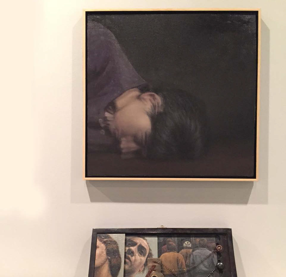 Nasser Bakhshi Oil paint on canvas & mix media 150 x 150 cm/32.5 x 47 x 11.5 cm 2015