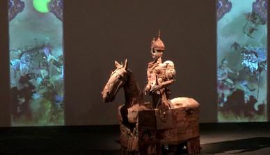 Installation view Yasmin Sinai Gordafarid on Horse and video installation Cardboard and mix media Life size 2014-2015