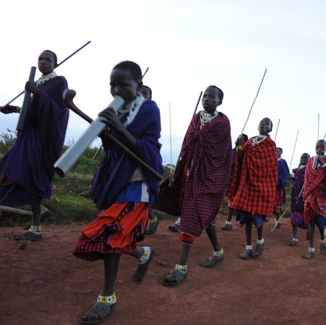 The return of Masai males from their rite of passage, Tanzania