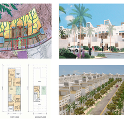 Master plan of Al Wasl New Town, Row of houses in Al Wasl New Town and floor plans of Al Wasl New Town houses