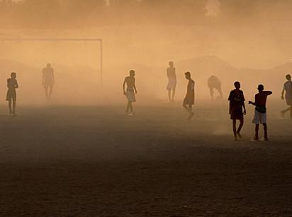 Simone Santi, footbal game at sundown, Yemen