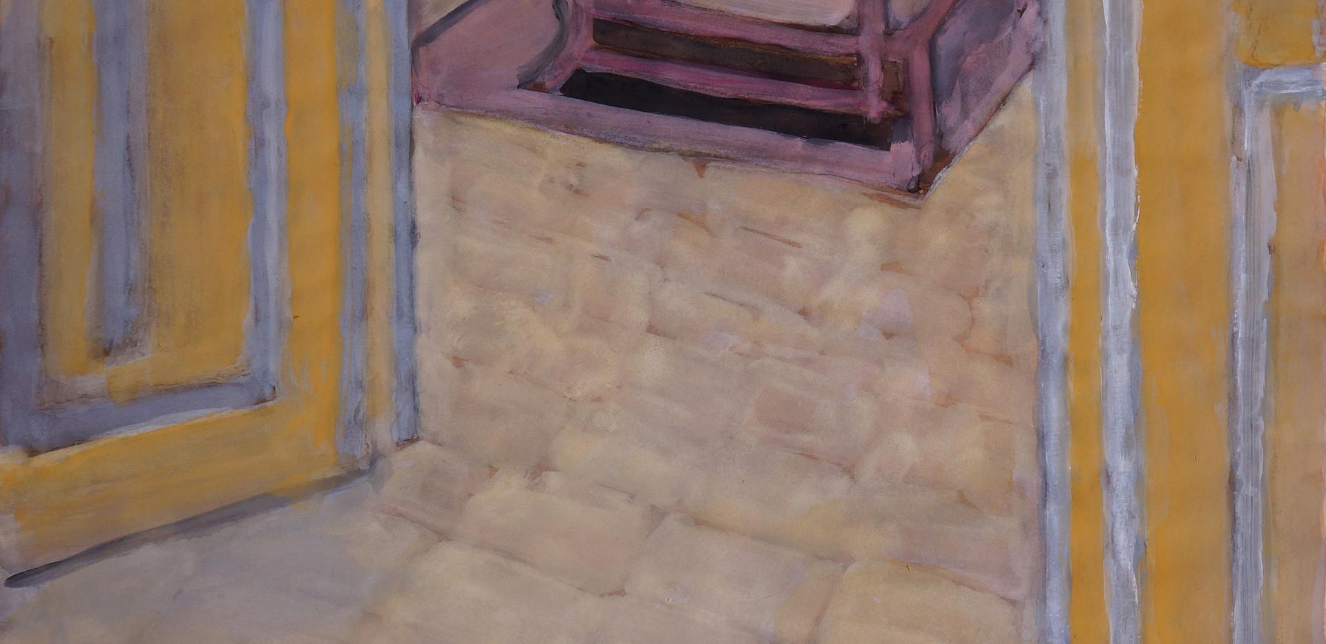 Ali Golestaneh Interior Gouache on paper 100 x 70 cm 2014