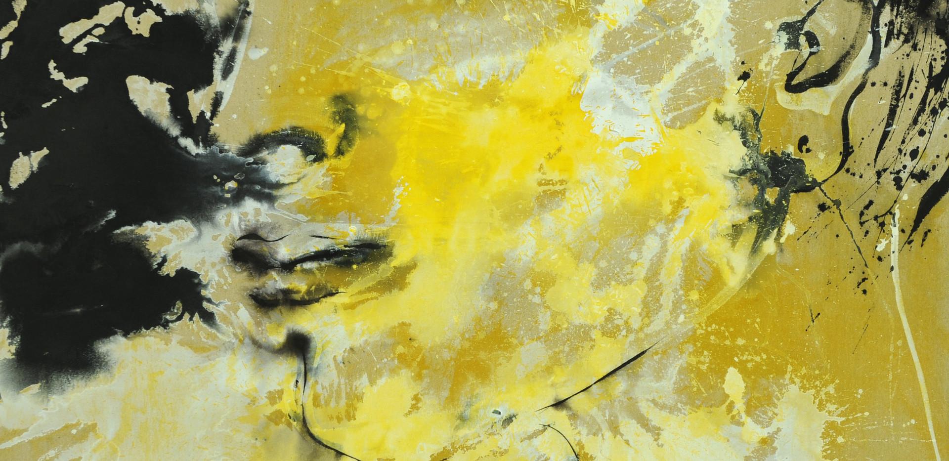 Ahoo Hamedi Acrylic on raw canvas 150 x 150 cm