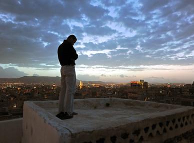Maghreb Prayer on the Rooftop Sanaa, Yemen 2009