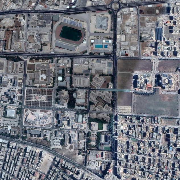 Google Earth view of Yarmouk University in the present day