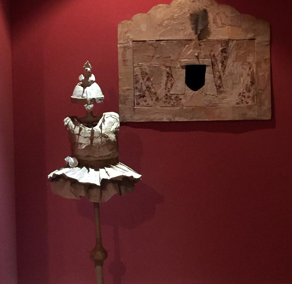 Installation view Yasmin Sinai Gordafarid costume with small video Cardboard and mix media 107 x 107 cm 2014-2015