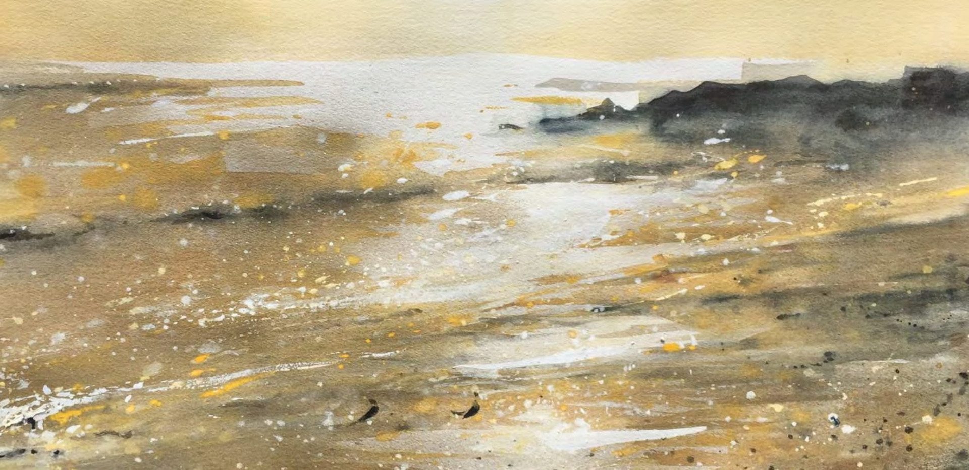 Golden Calm Watercolor 76.2 x 106.6 cm
