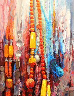 Mohseni Kermanshahi Colorful Stones Acrylic and oil on canvas 50 x 120 cm 2011