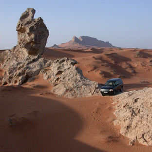 Dune bashing in the desert. This photo also serves as the cover photo for the revised Off-Road in the Emirates book