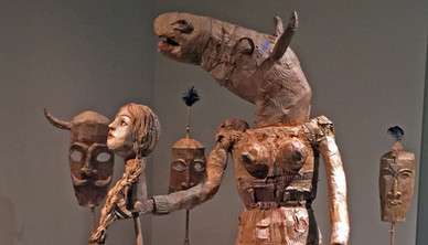 Installation view Yasmin Sinai Horse with Gordafarid Cardboard and mix media 173 x 45 cm 2014-2015