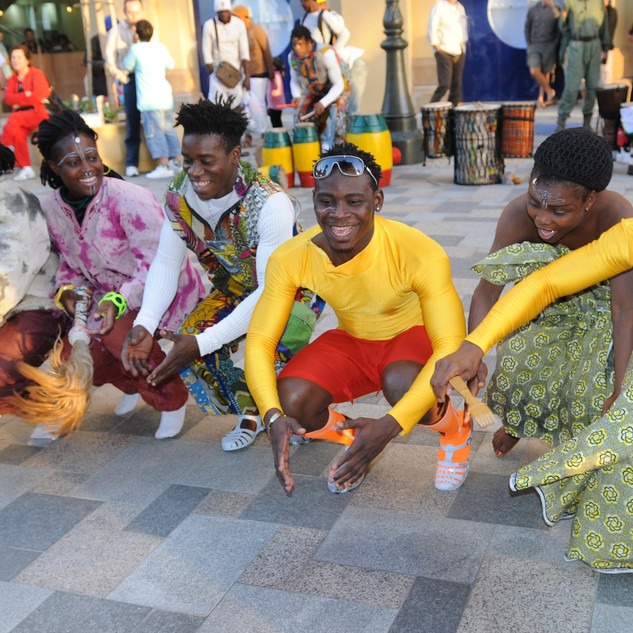African dancers performing in Jumeirah Beach Residence during the Dubai Shopping Festival