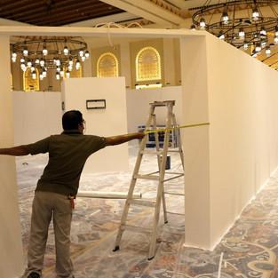 Exhibition installation work in progress