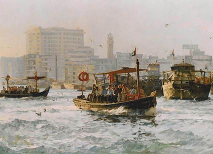 Mohseni Kermanshahi Abra Crossing the Creek Oil on canvas 100 x 180 cm