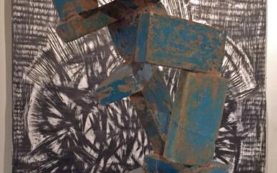 Installation view Front: Hadi Hazavei Enamel glaze on bricks 64 x 34 x 46 cm 2014  Back: Parichehr Tayyebi Graphite on paper 2015-2016