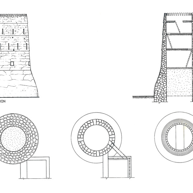 Elevation, plan and cross section of one of Dubai Museum's towers
