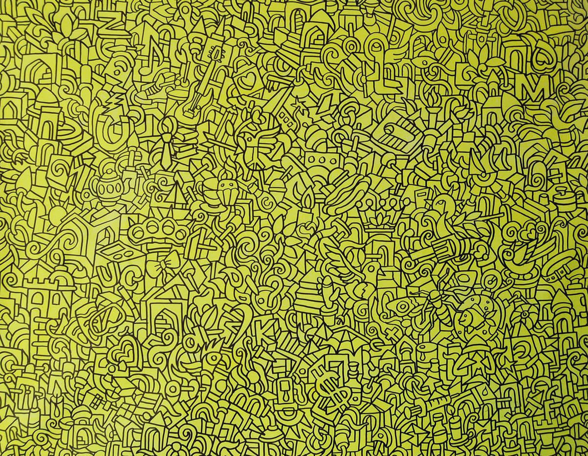 Ali Razavi Fluorescent acrylic & marker on canvas