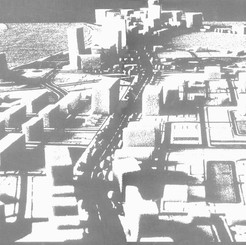 Aerial view from the vicinity of the clock tower, towards the CBD (historical part of Dubai), through Al Maktoum Road