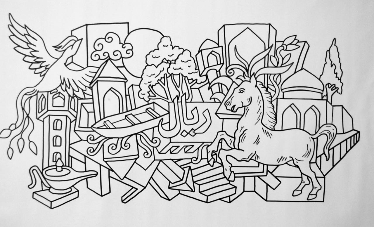 Ali Razavi Marker on canvas 50 x 90 cm 2018