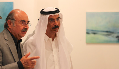 H.E Mohamad Al Murr and artist Nabil Safwat
